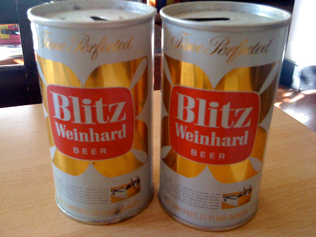 A couple of Blitz Weinhard cans